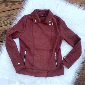 NWT Maroon Faux Suede Moro Jacket S
